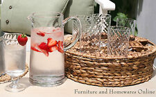 Glass and Pitcher 8 Piece Set Garden Party Hand Woven Carry Tray Glassware Jug