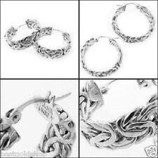 "1"" Byzantine Round Hoop Earrings Real 925 Sterling Silver"