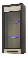 """KOLDER"" Wall Mounted Tall Glass Door Cabinet with LED Lighting"