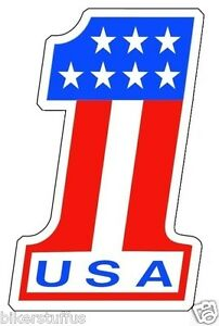 USA NUMBER # 1 AMERICAN FLAG STICKER RACING BUMPER STICKER LAPTOP STICKER