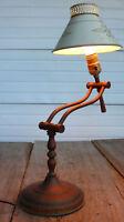 Desk Table MCM LAMP Western Steam Brass Tole Arm Adjust Light Vintage Old Estate