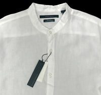 Men's PERRY ELLIS White Pure Linen Band Collar Shirt S Small NWT NEW Beautiful!