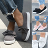 Ladies Women Bow Flat Sole Casual Comfy Slip On Sneakers Plimsolls Pumps Shoes