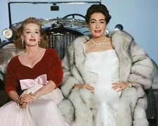 Bette Davis & Joan Crawford divas sit on a Rolls Royce movie stars 8x10 photo