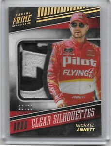 2018 PANINI PRIME CLEAR SILHOUETTES GREAT PATCH 22/50 MICHAEL ANNETT NASCAR...