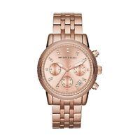 Michael Kors Ritz Ladies Chronograph Watch Rose Gold Case MK6077