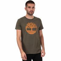 Mens Timberland Brand Tree Logo T-Shirt In Khaki- Short Sleeve- Ribbed Collar-