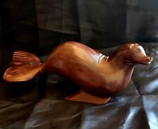 Carved Sea Lion Solid Red Mahogany Wood Figure Shiny Finish Sea Lion Ocean Deco