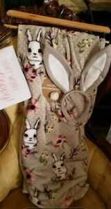 Hoppy Easter 3pc Plush Throw SET Size 50 x 60 with Headband & Makeup Bag