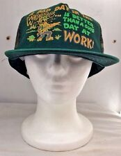 VINTAGE FUNNY HUMOROUS A BAD DAY IN THE WOODS MESH SNAPBACK HAT CAP