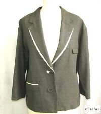 Cotelac - Jacket Blazer Boyfriend Cotton Linen Gray Black Cream T 3 = 42 - Mint