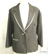 COTELAC - JACKET BLAZER BOYFRIEND COTTON LINEN GRAY BLACK CREAM T 3 = 42 - AS