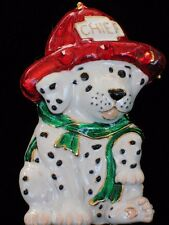 """CUTE CHRISTMAS CHIEF FIRE TRUCK PUPPY DOG PIN BROOCH SLIDE PENDANT JEWELRY 1.75"""""""