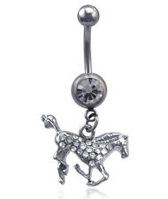 Horse Pony Mustang Dangling Charm Navel Belly Ring Body Piercing Jewelry br9c