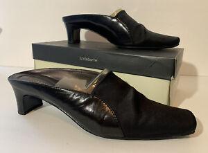 Liz Claiborne Mules Women's 10 M Leather Black Slip On Heels Flex Zone Soles EUC