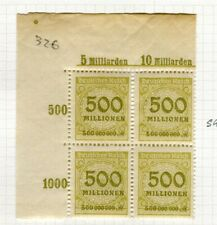 GERMANY; 1923 Oct early Inflation Period surcharged BLOCK of 500M. as SG 326