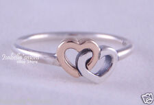 HEART TO HEART Authentic PANDORA Siver 14K GOLD Two-Tone LOVE Ring 8.5~58 NEW