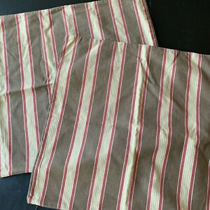 Pottery Barn Striped PAIR Pillow Covers Cotton Red Tan Brown 20 X 20