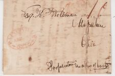 PAINESVILLE OHIO 1834 Stampless FL red DLO AUG 6 red PAID SCROLL to MOGADORE O