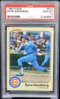 1983 Fleer HOF RC Cubs RYNE SANDBERG Rookie Card PSA 10 GEM MINT Low Pop 650