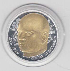 5 DM  Goldapplikation - teilvergoldet   Stresemann  1978 Goldapplikation