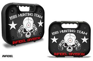 Skin Decal Wrap for Glock 18 19 21 22 43 9m Pistol Gun Hard Gen 2,3 Case INFIDEL
