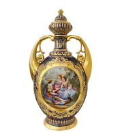 Late 19th Early 20 Century Royal Vienna Hand-Painted Cobalt Grounded and Gold De