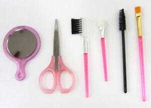 6pc Mini Make-up Beauty Brush Set Mirror Scissors Mascara Lip Gloss Brushes