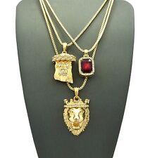 Lion Pendant Box Chain Necklace Set Mens Hip Hop Red Ruby Jesus, &