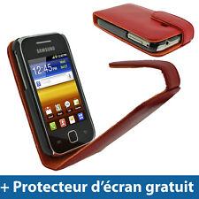 Rouge Étui Housse Flip en Cuir Case Cover pour Samsung Galaxy Y S5360 Smartphone