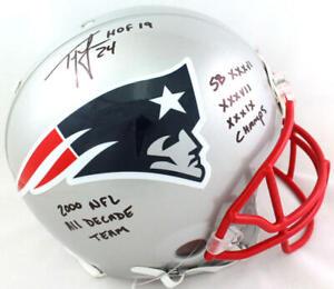 Ty Law Autographed NE Patriots F/S Authentic Helmet w/ 5 Insc- Beckett W *Black
