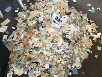 1 KG (1 KILO) World and GB On Paper Stamps Kiloware Mixture
