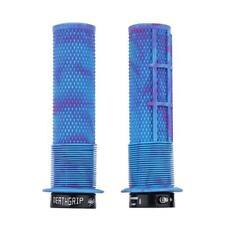 DMR Deathgrip MTB handle bar grips - Miami Blue Flanged Lock on Thin Soft