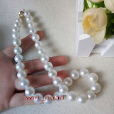 "AAAAA 18""11-12mm Natural real south sea perfect round WHITE pearl necklace 14K"