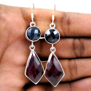 925 Sterling Silver Ruby & Sapphire Handmade Earrings Xmas Gift Women ES-1049