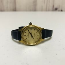 Vintage Helbros Ladies Watch Quartz Gold Tone Case Black Band With New Battery