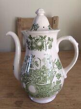 Vintage Mason's Patent Ironstone Fruit Basket Green Coffee Pot England (TB9)