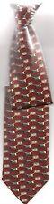 Tie, Clip-On Narrow SHORT Red Interlink Boxes Gold Brown Grey El Salvador Youth