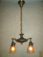 ANTIQUE 2 LIGHT  PAN  ELECTRIC  CEILING  FIXTURE CHANDELIER , PERIOD SHADES