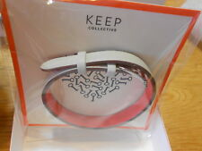 Keep Collective Single Leather Band (new) STONE/NEON CORAL - SILVER