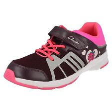 Girls Clarks Gloforms Rounded Toe Casual Hook & Loop Leather Trainers ReflectGlo