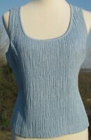 St John blue knit top, sleeveless, scoop neck, geometric pattern. Size M