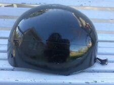 Vintage motorcycle helmet. Buco? Leather ear straps. Shiny black. Size Large.