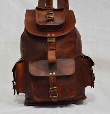 """20"""" Large Genuine Leather Vintage Laptop Backpack Rucksack Messenger Hand Bag"""