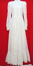 GUNNE SAX Womens White Blue Floral Prairie Peasant Boho Lace Wedding Dress 7 M