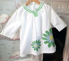 Mini Boden White Green Floral Tunic Smock Dress Cover-up - 3-4 Years