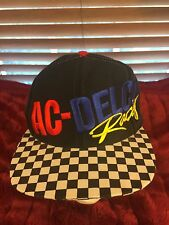 Men's VINTAGE RARE REEBOK AC-DELCO Racing Checkered Flag Bill Black Hat H81