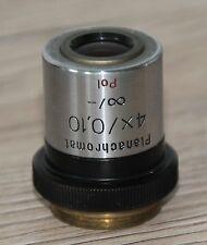 Zeiss Mikroskop Microscope Objektiv Planachromat 4x/0,10 Pol