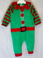 Baby Boys Next Green Red Velour Xmas Elf Outfit All in One Romper Age 3-6 Months