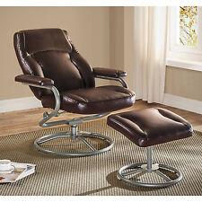 Recliner And Ottoman Set Brown Glider Chair Swivel Footrest Rocker Vinyl Seat